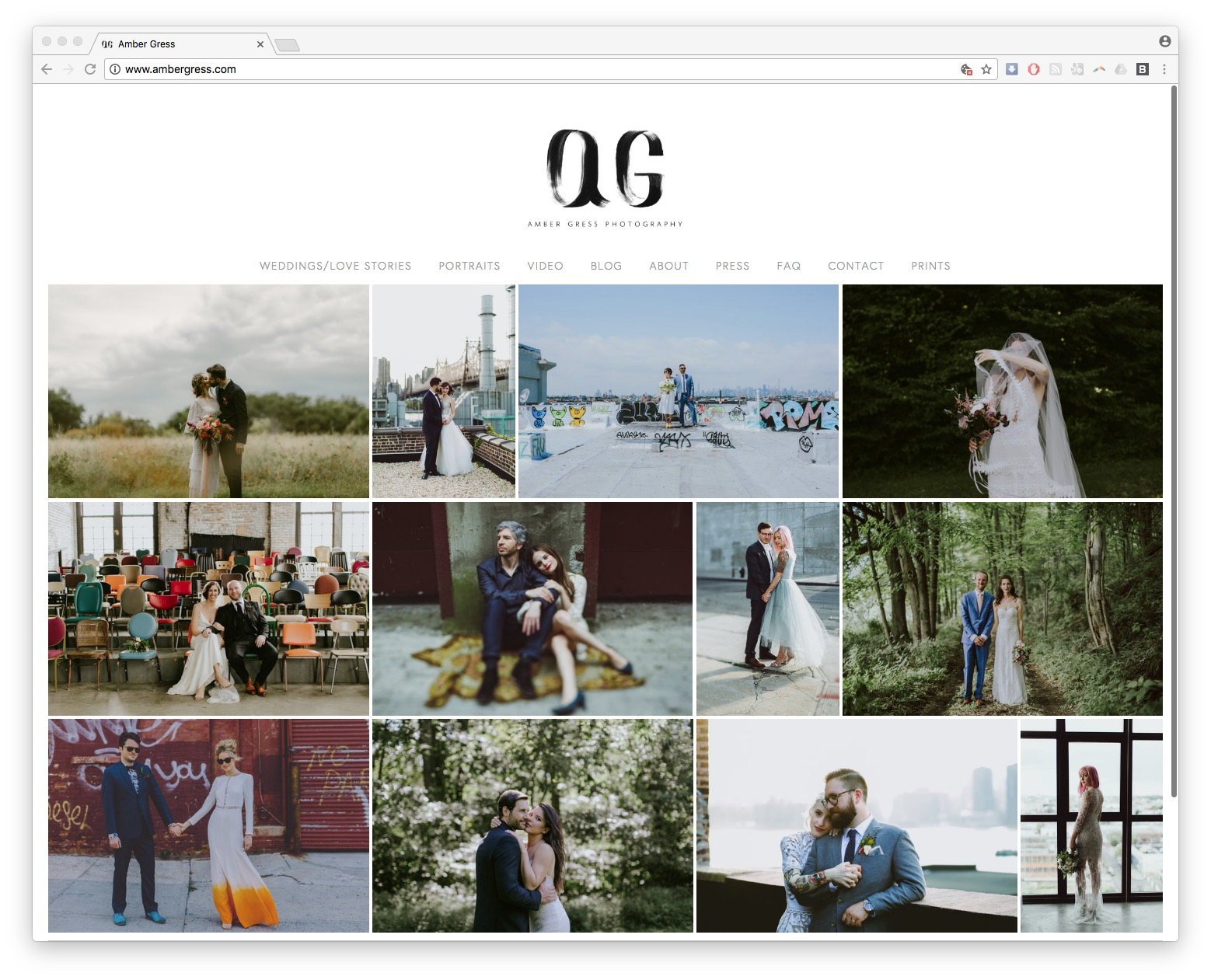Amber Gress homepage thumbnail web design squarespace photographer burlington vermont