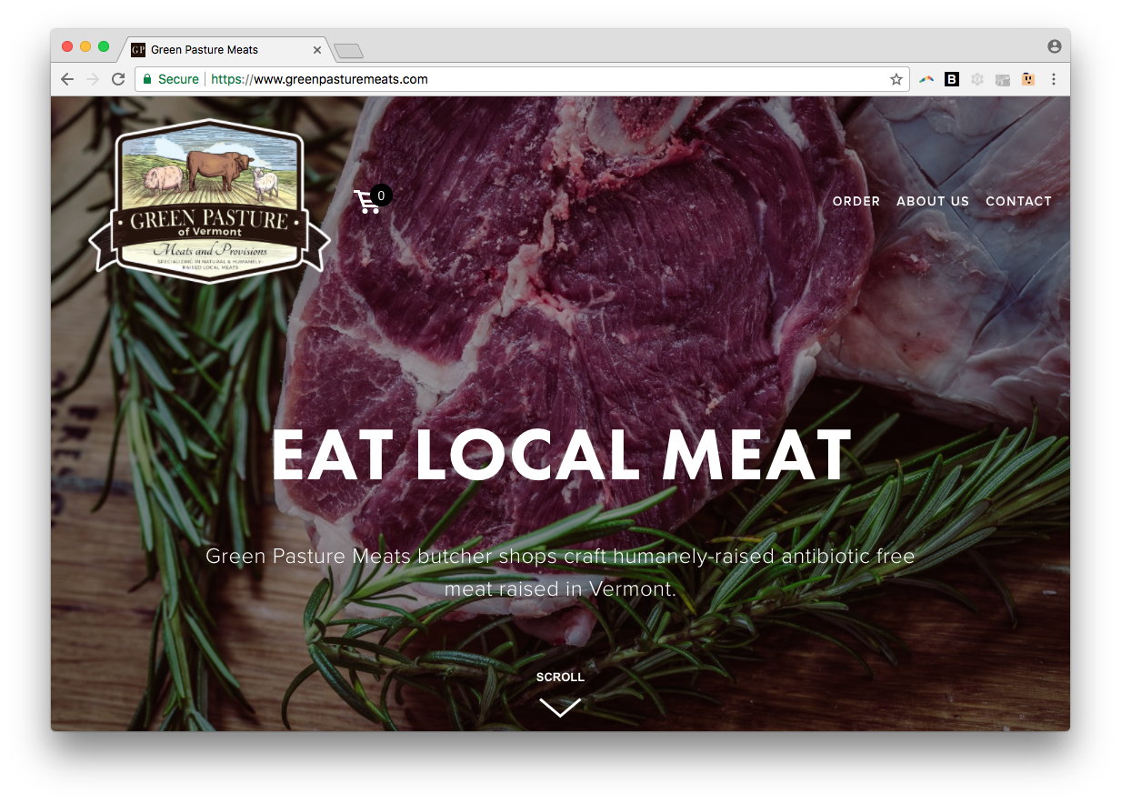 green pasture meats web design squarespace vermont burlington homepage screenshot
