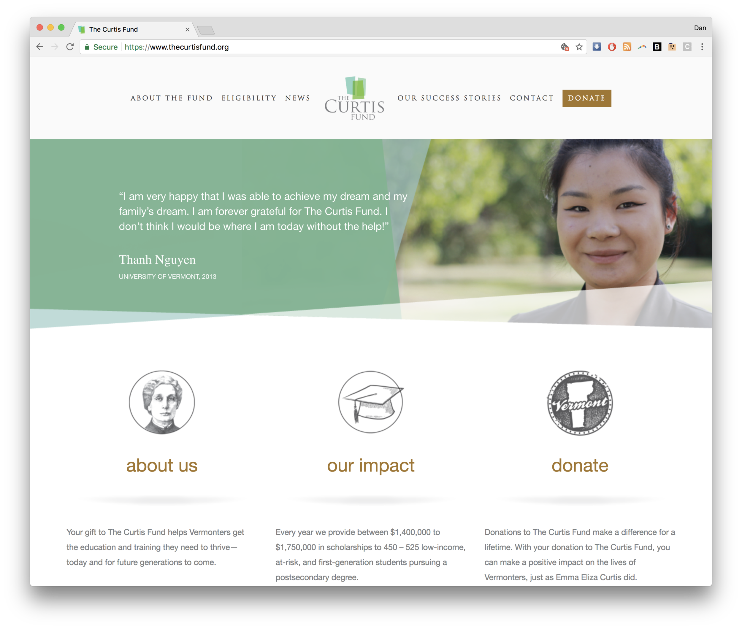 the curtis fund website squarespace screenshot