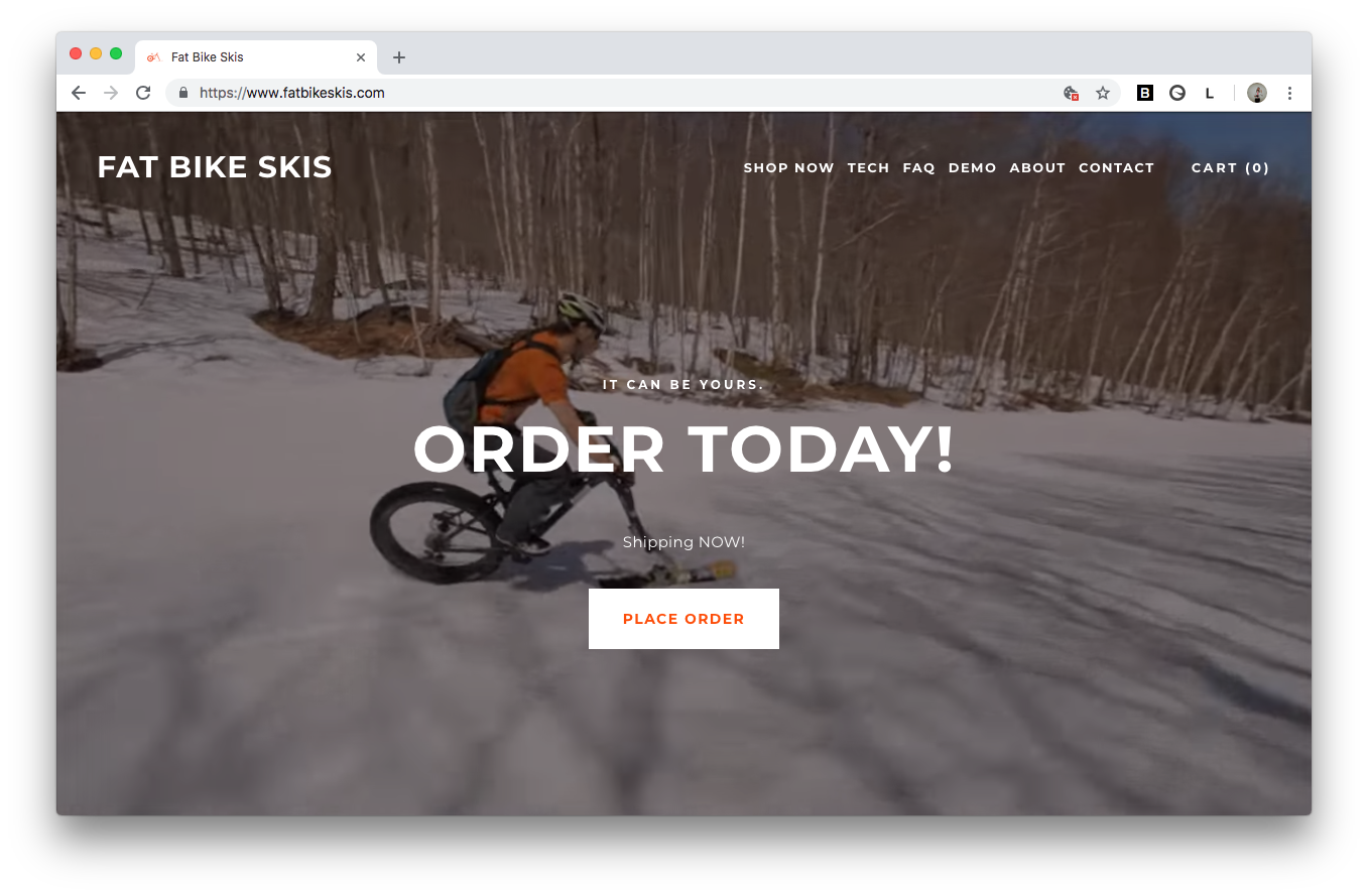 fat bike skis web design vermont squarespace homepage screenshot burlington