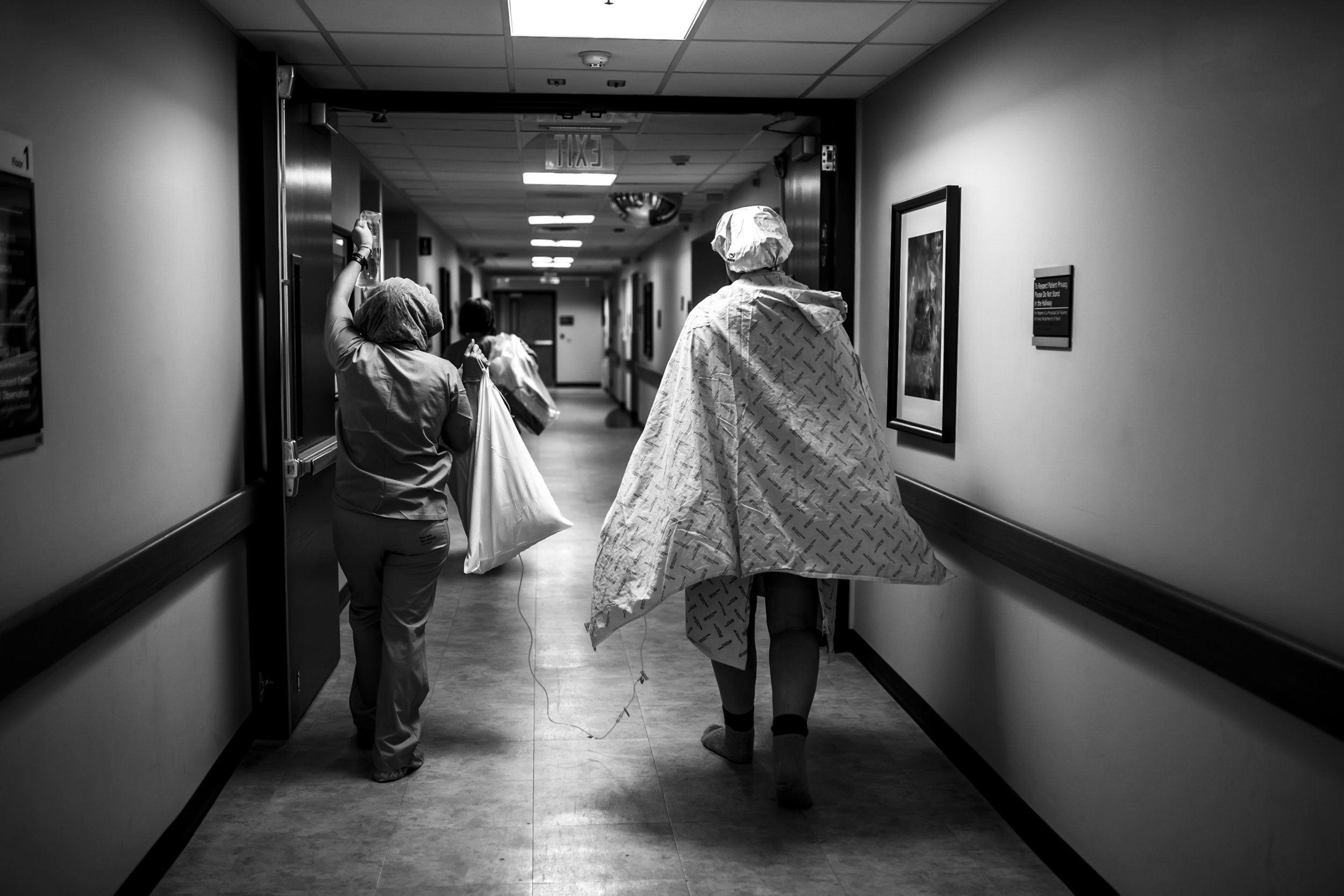 walking to the OR