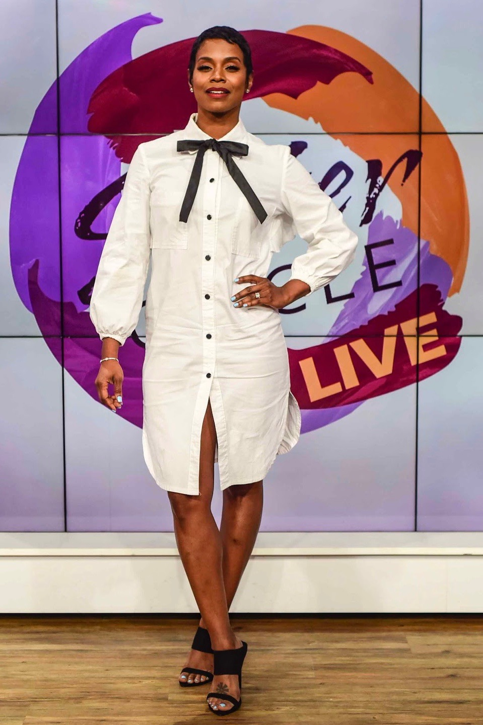 "Rashan Ali wears GRC on Sister Circle Live - On May 13, 2019 stylist Spacial Styles dresses Rashan Ali in Gayla Rogers Collection ""Chanel"" dress on Sister Circle Live."