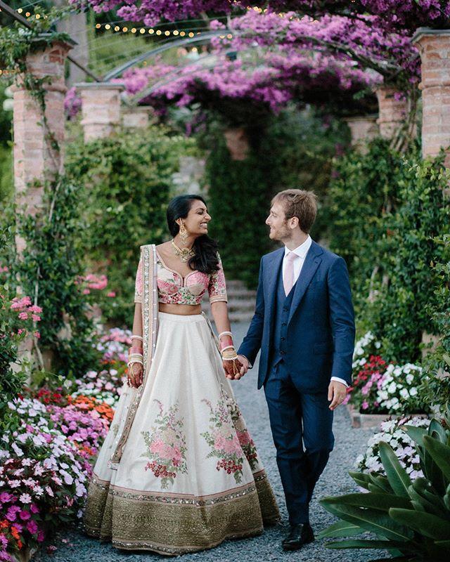 Shivani and Matteo soaking up the beautiful summer gardens of @lacervara . . . #sabyasachi #sabyasachibride #sabyasach #lacervara #lacervarawedding #italydestinationwedding #destinationwedding #santamargheritaligure #portofino #portofinowedding #italywedding #portofinoweddingphotographer #weddinginspo #weddinginspiration #indianweddingdress #indianwedding #indianbride