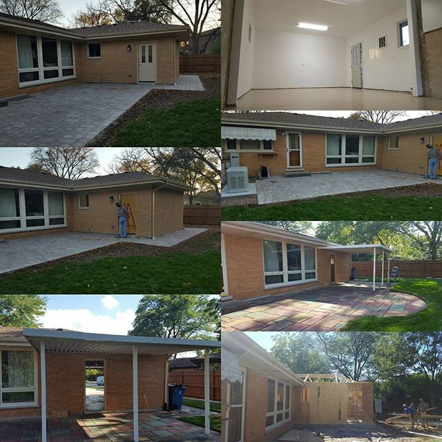 Recently completed garage/patio addition in south Elmhurst.