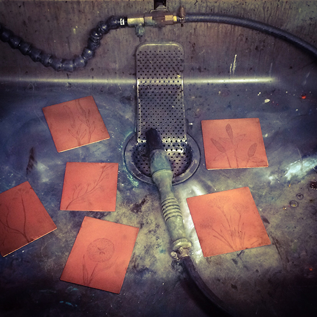 copper plates in mineral spirits tank