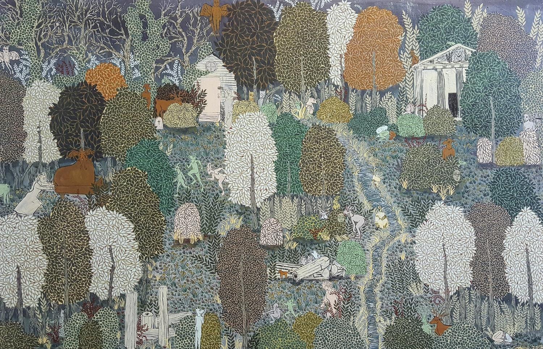 "Nana Johns . Polymer paint on panel. 40""H x 60""W."