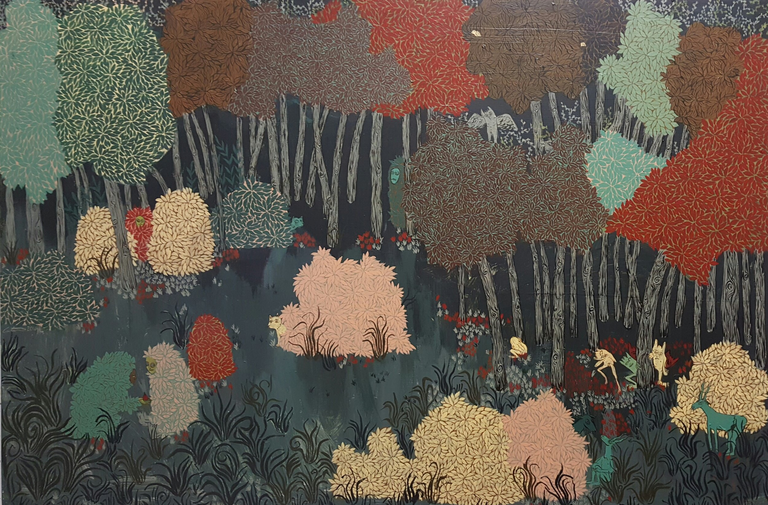 """Communion at the Forest's Edge . Polymer paint on panel. 24""""H x 48""""W."""