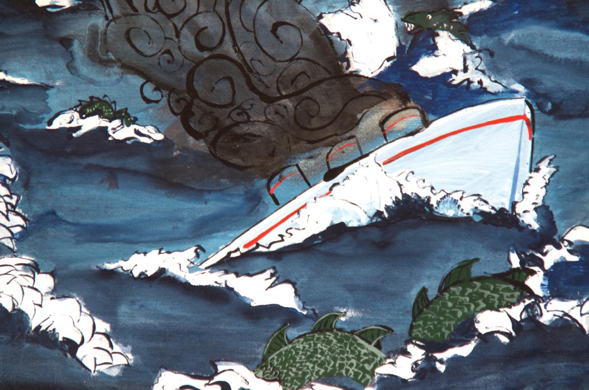 """In Memory . Enamel paint on canvas. 9""""H x 12.5""""W."""