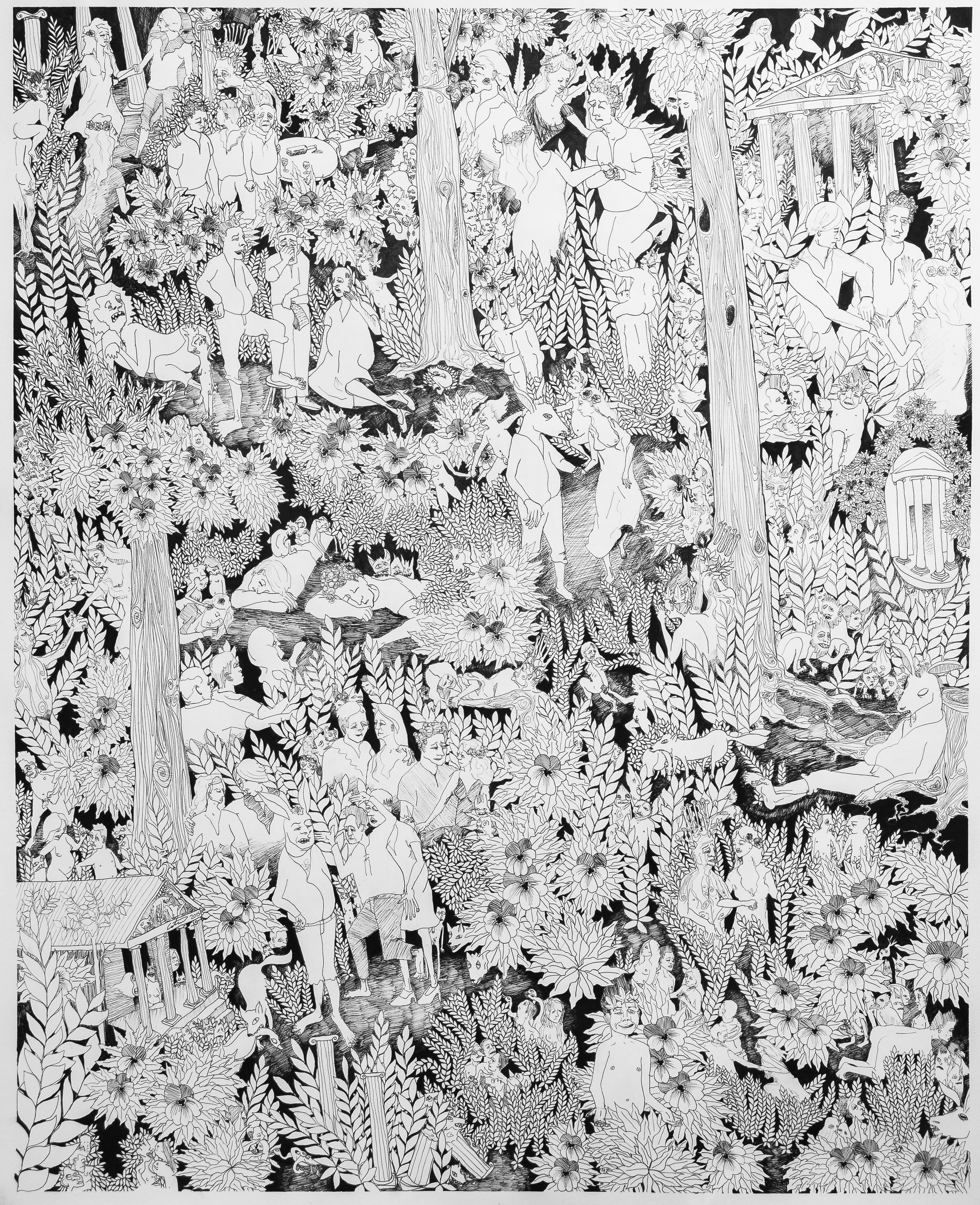 """Love-in-Idleness . Ink on paper. 45""""H x 36.5""""W."""