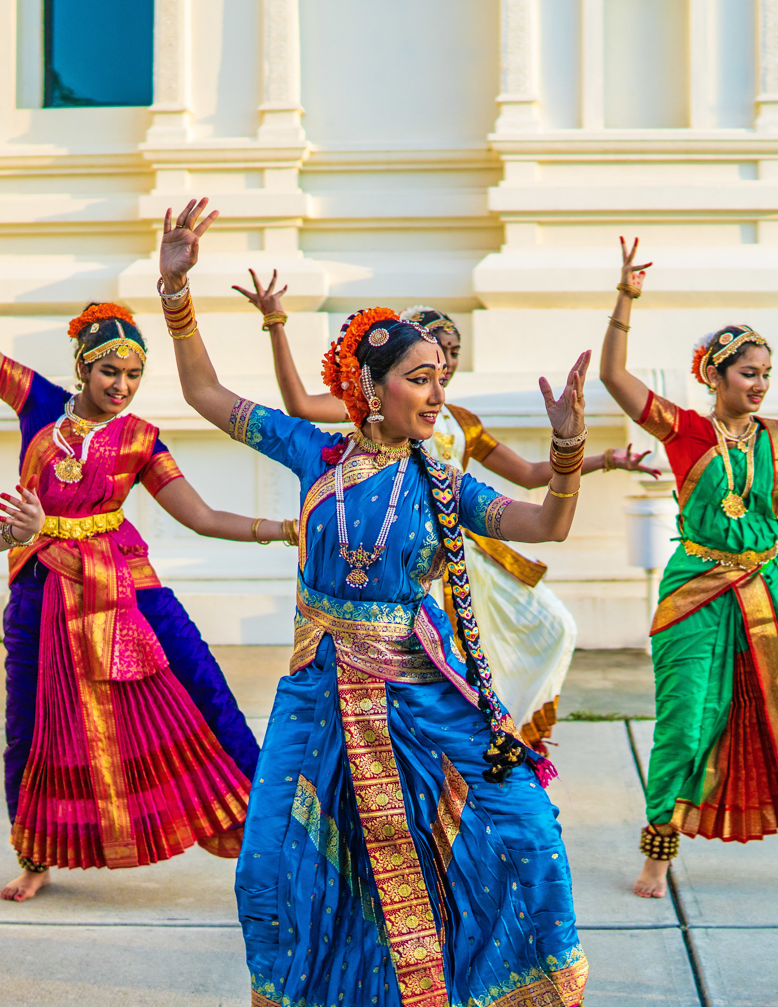 See traditional indian dances like those of the dicsciples of Kavitha Konda, NRK School of Performing Arts, at the east meets west festival in morrisville.