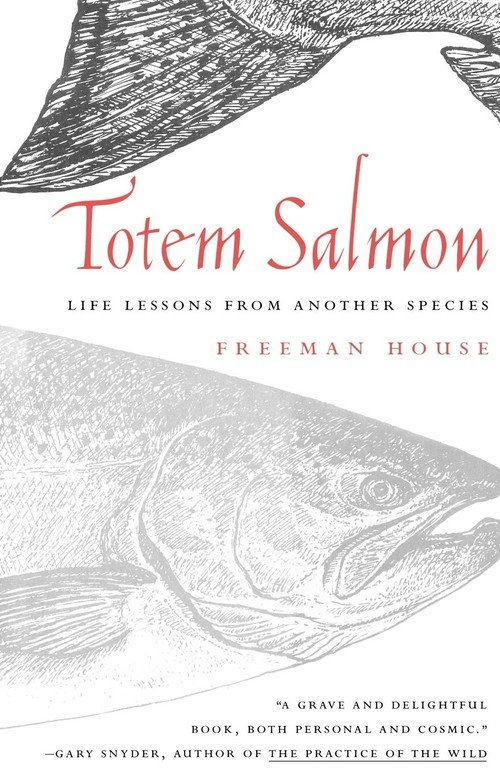 Totem Salmon : Life Lessons from Another Speciesby Freeman House - Part lyrical natural history, part social and philosophical manifesto, Totem Salmon tells the story of a determined band of locals who've worked for over two decades to save one of the last purely native species of salmon in California. The book-call it the zen of salmon restoration-traces the evolution of the Mattole River Valley community in northern California as it learns to undo the results of rapacious logging practices; to invent ways to trap wild salmon for propagation; and to forge alliances between people who sometimes agree on only one thing-that there is nothing on earth like a Mattole king salmon.