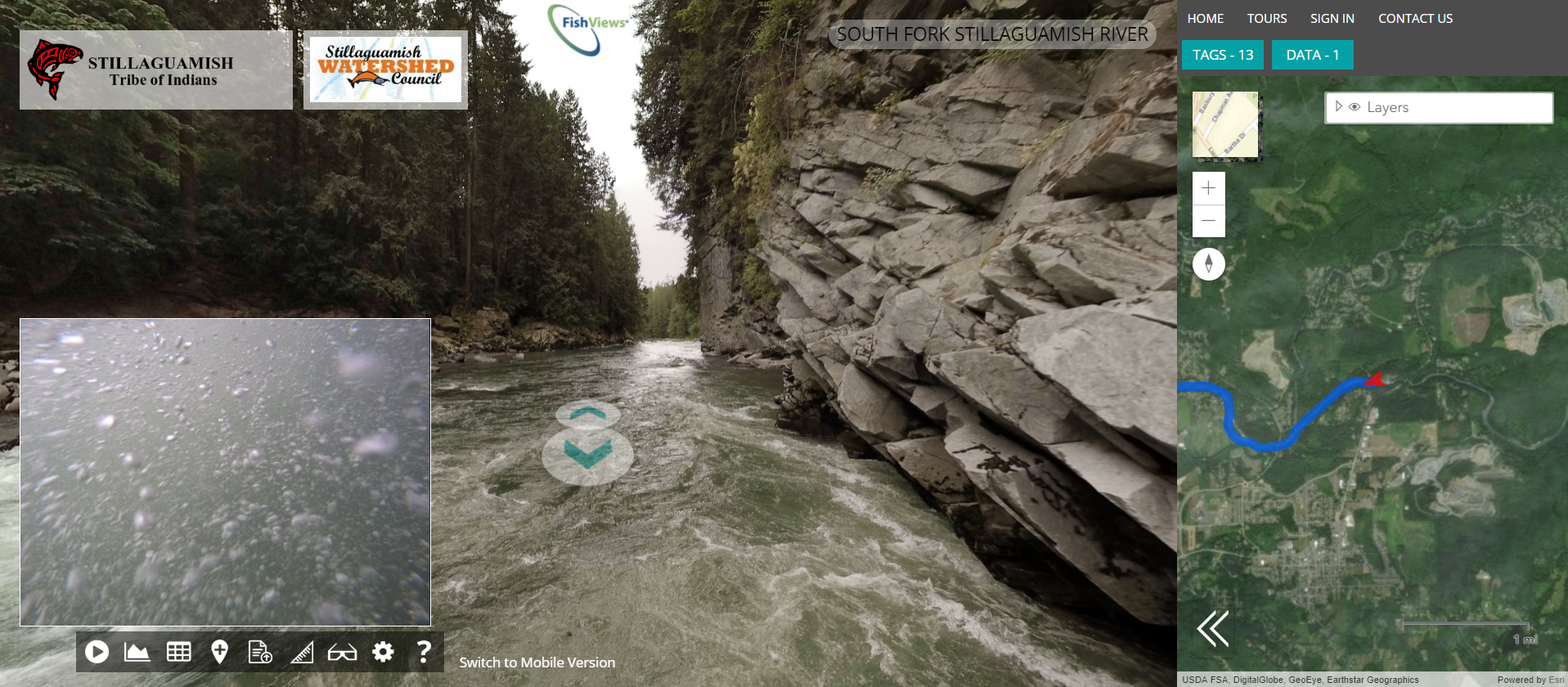 """Virtual Tour: FishViews Stillaguamish River - """"It's like a Google Street View for the Stillaguamish River""""A collaboration between the Stillaguamish Tribe of Indians and Stillaguamish Watershed Council offers a self-guided journey of 82 stream miles including beautiful surface panoramas and underwater views!Click here for the tour!"""