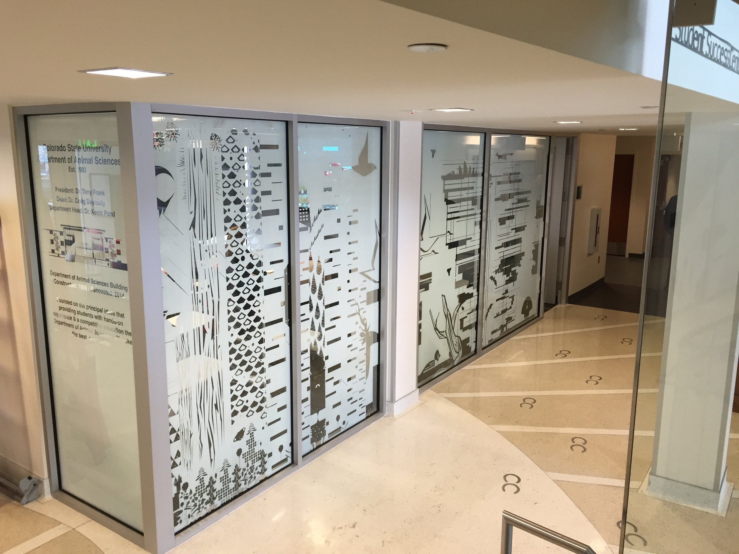 Colorado State University wanted a custom look for their Agricultural building. A student designed this pattern for Solar Vision to print and install.