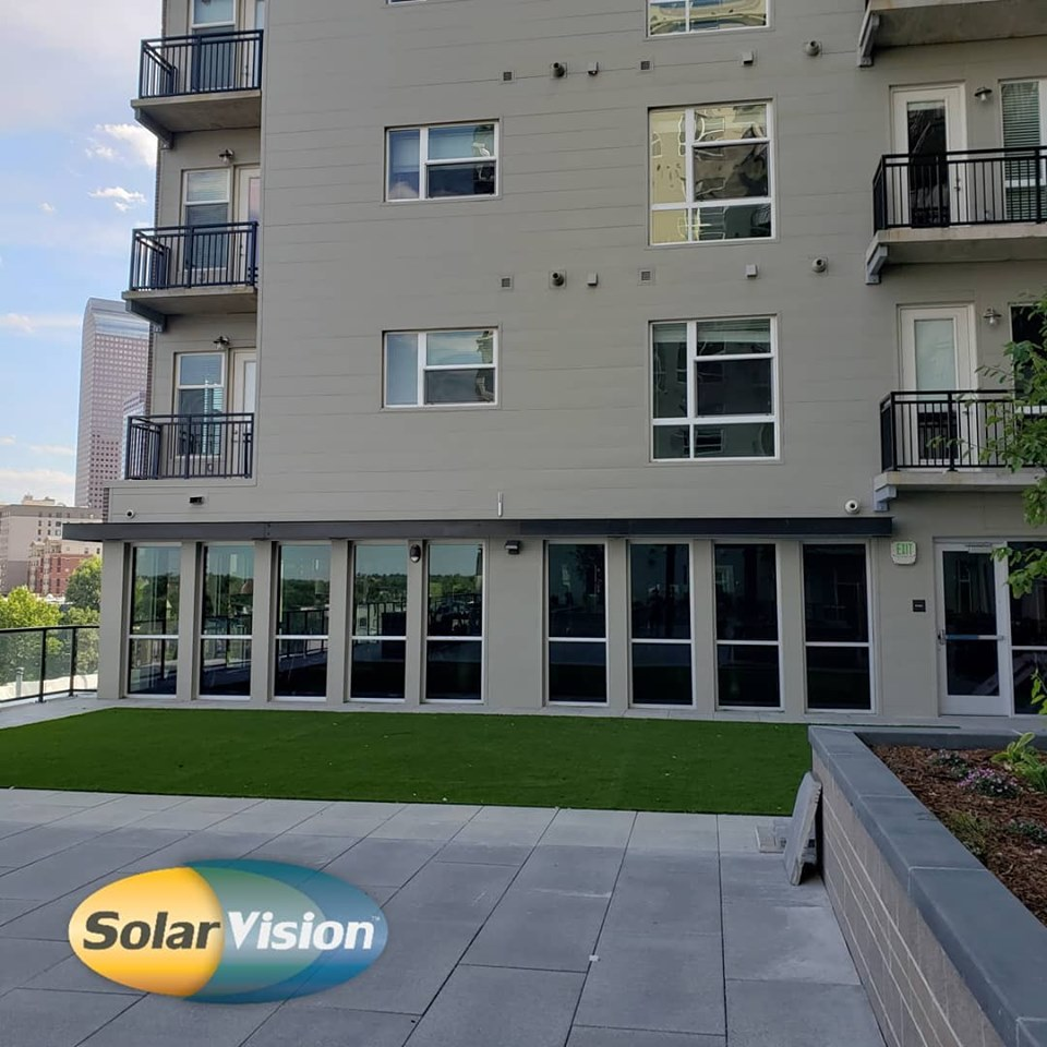 3M Prestige Exterior 40 (PR40X) applied to first floor windows at this apartment complex to reduce heat in gym area.