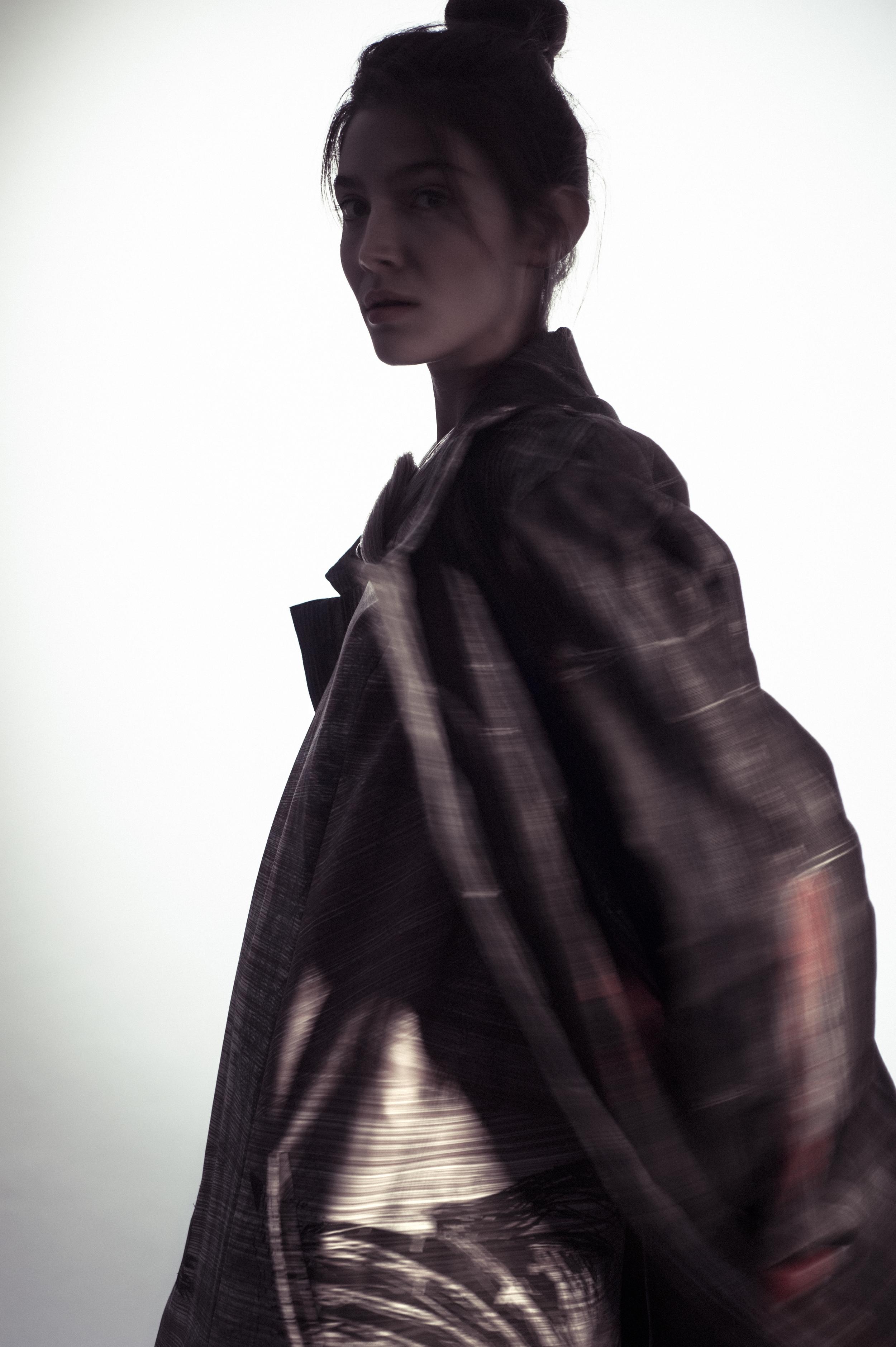 Painted coat and dress by Flora Cervantes, MFA Fashion Design and Lori Solem, MFA Textile Design.