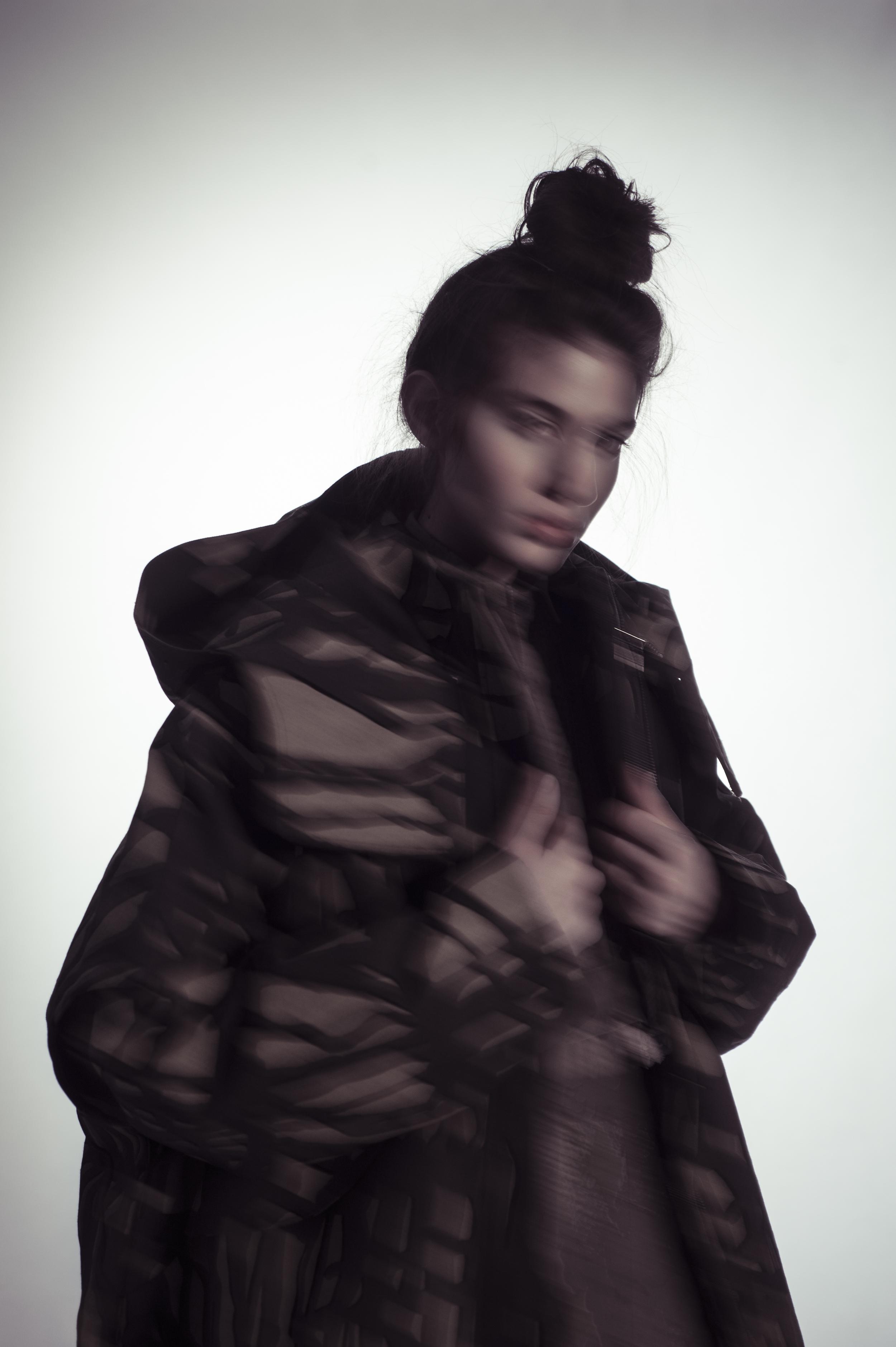 Printed coat and dress by Mingyu Du, MFA Fashion Design and Joseph Khawane, MFA Textile Design.