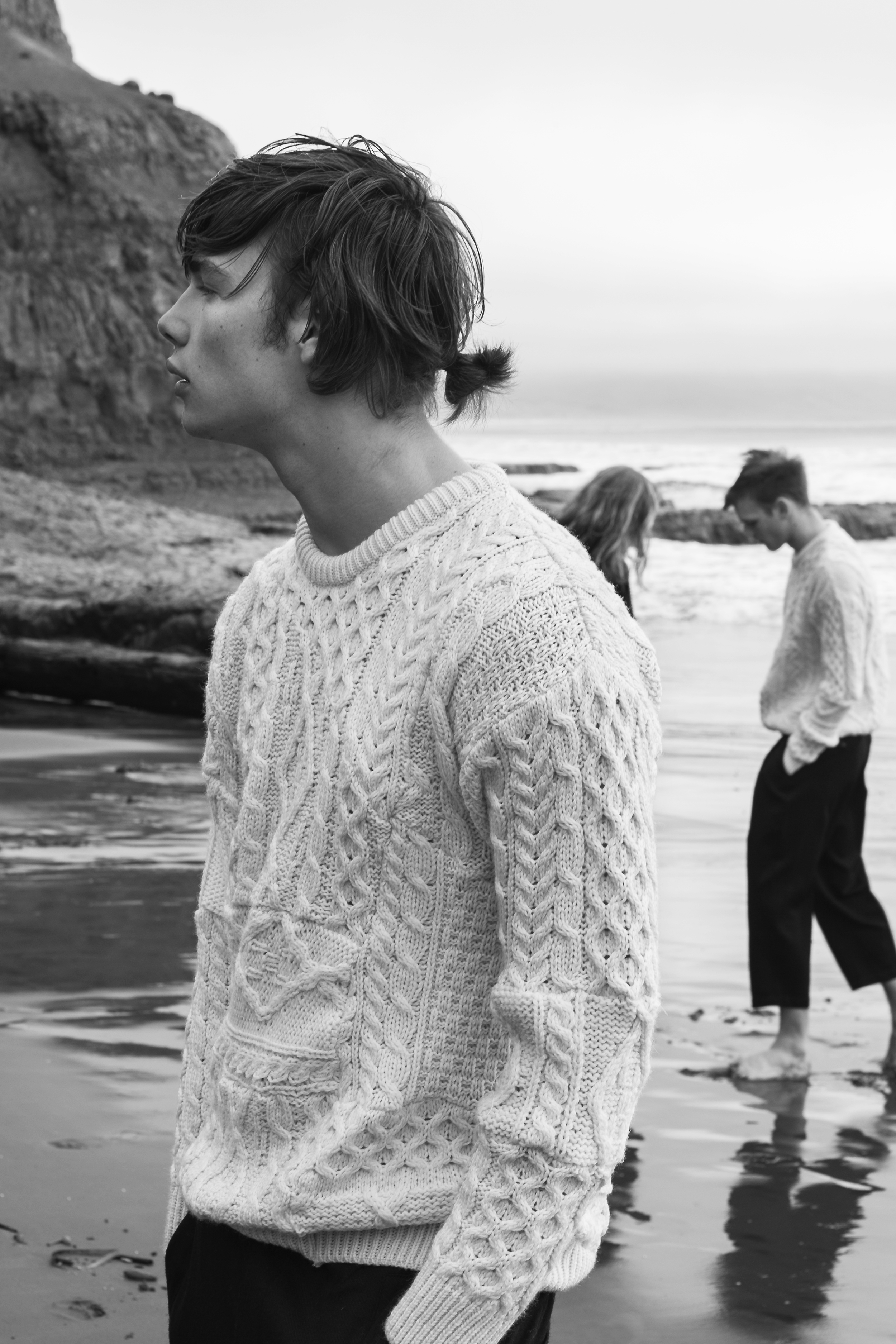 On Alex: Patchwork Sweater by Wen-Lin Tsai, MFA Fashion Design. Pants by Comme des Garçons. On Anders: Patchwork Sweater by Wen-Lin Tsai, MFA Fashion Design. Pants by Ch.