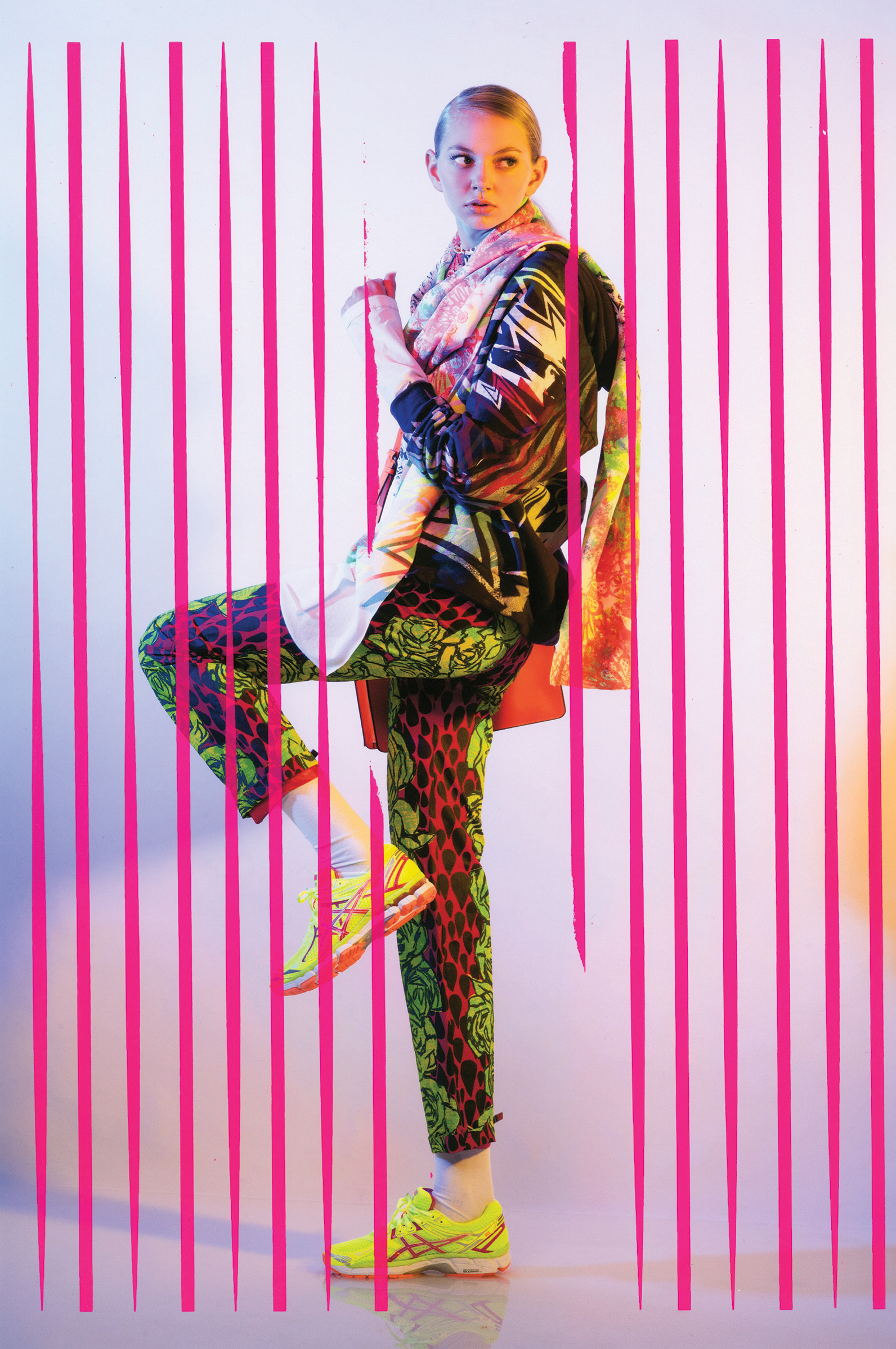 Hoodie and Scarf by Ben Copperwheat. Pants by Jaci Hodges, MFA Fashion Design, and Nisha Btesh, MFA Textile Design.