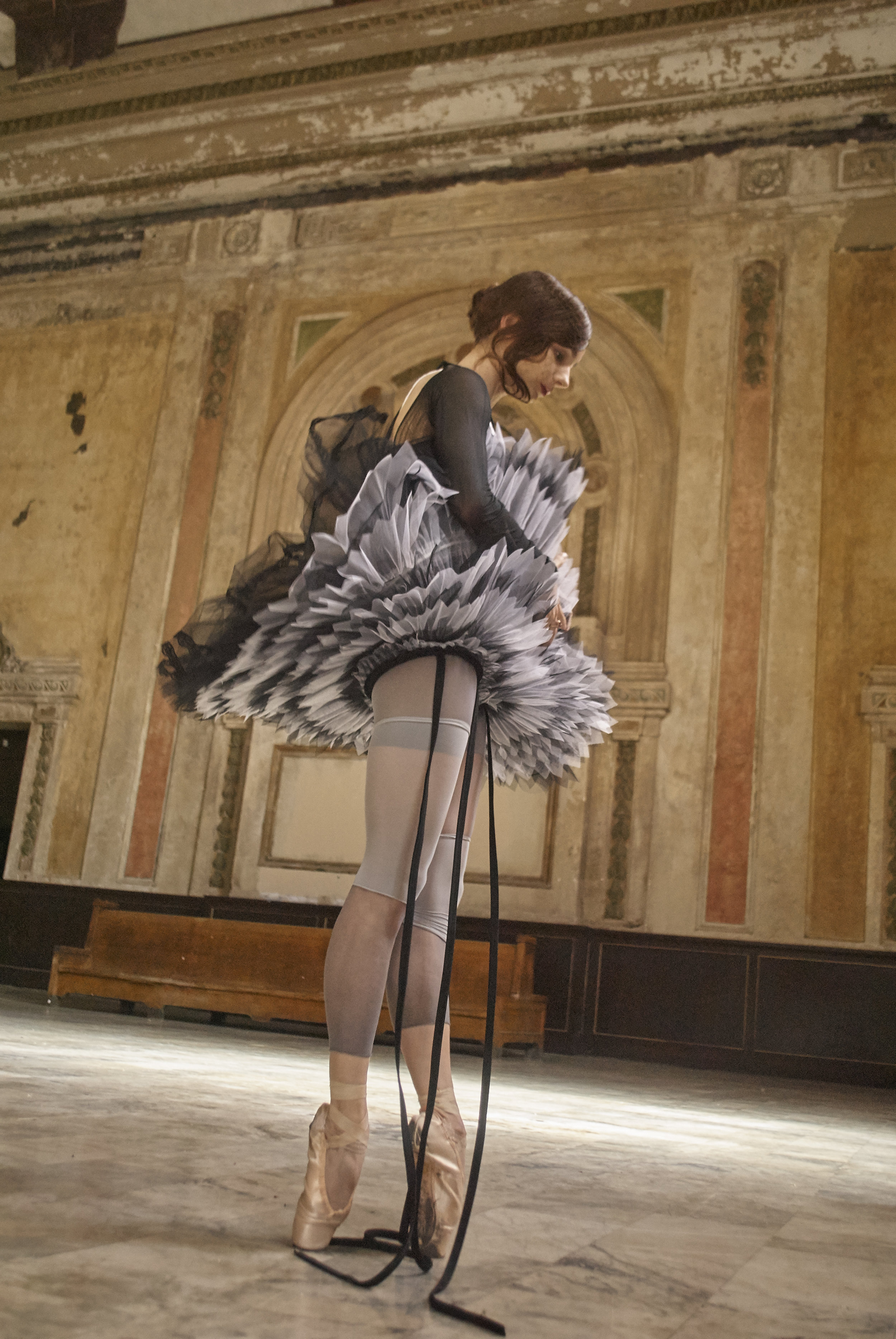 Tutu by Sophie Sunjung Lee, BFA Fashion Design. Leotard and Pointe Shoes, model's own. All Stockings and Harness, stylist's own.