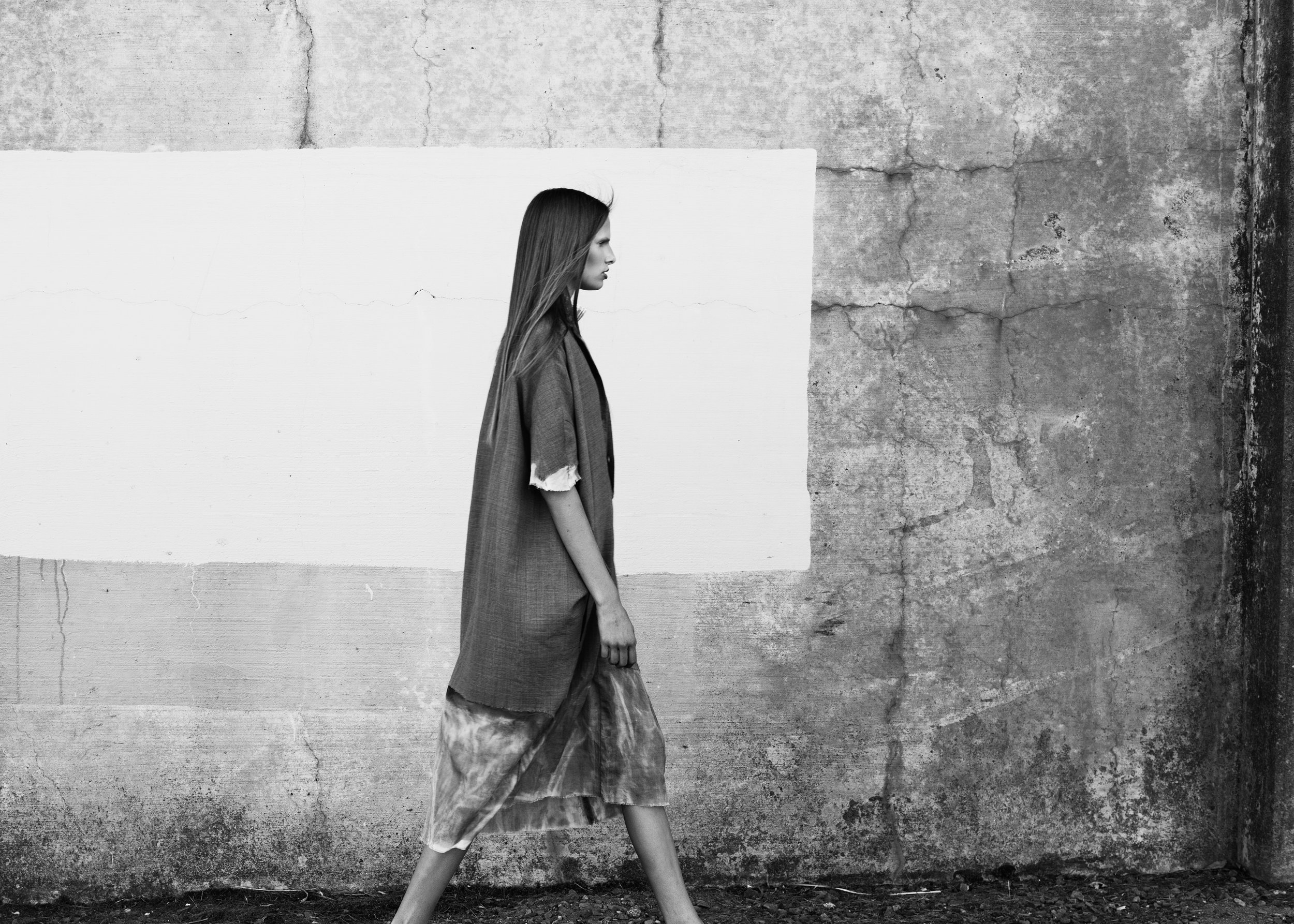 Dress by Gwen Shia-Yao Lai, MFA Fashion Design. Céline sweater, Saks Fifth Avenue. Shoes, stylist's own.