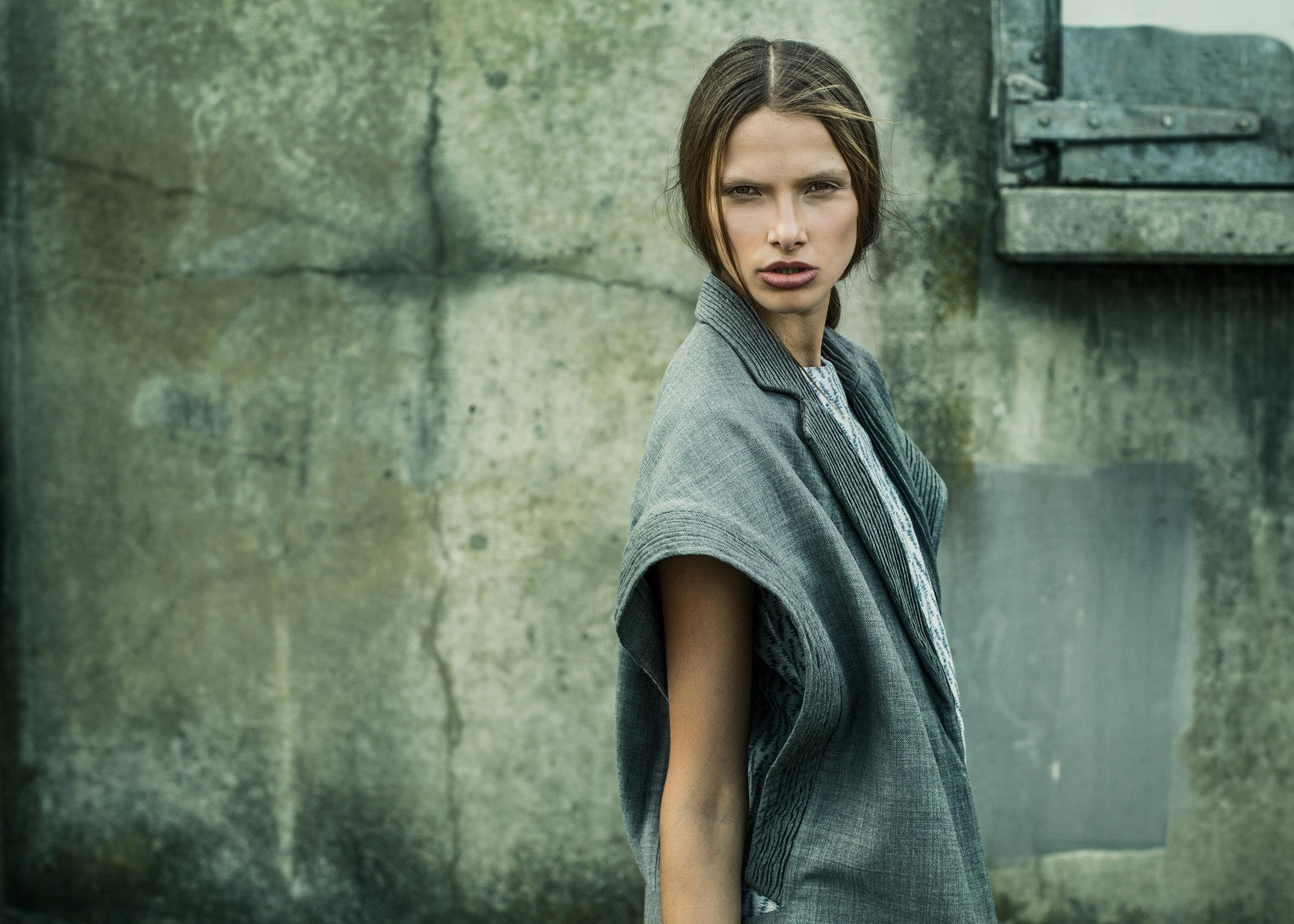 Vest by Gwen Shih-Yao Lai, MFA Fashion Design. Tunic by Jason Tam, MFA Fashion Design.