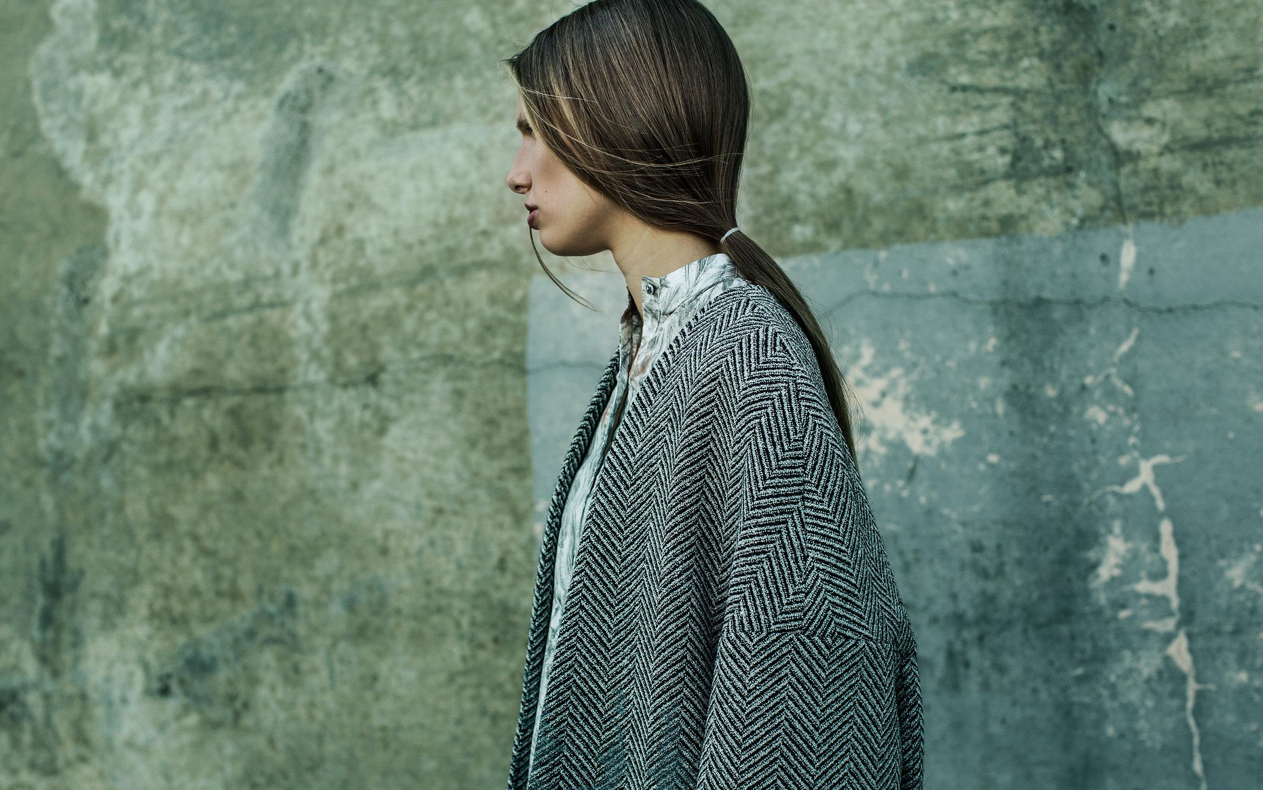 Coat by Youngjin Shin, BFA Fashion Design and Hsin Lee, BFA Textile Design. Shirt by Gwen Shih-Yao Lai, MFA Fashion Design.