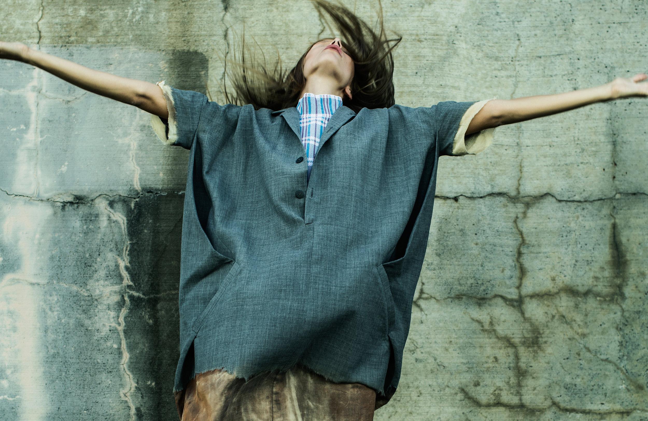 Dress by Gwen Shih-Yao Lai, MFA Fashion Design. Sweater, Céline, Saks Fifth Avenue.