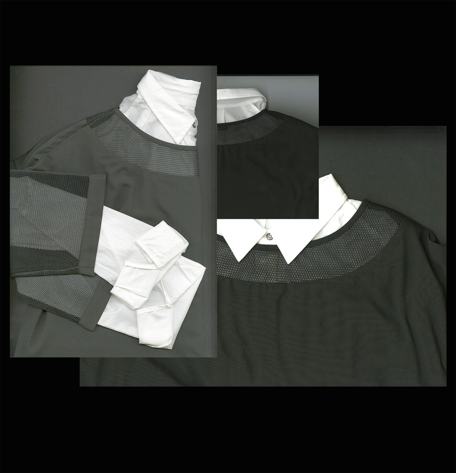 Mute by JL Black Mesh Tunic and White Collared Shirt by Joanne Lu, MFA Fashion Merchandising.