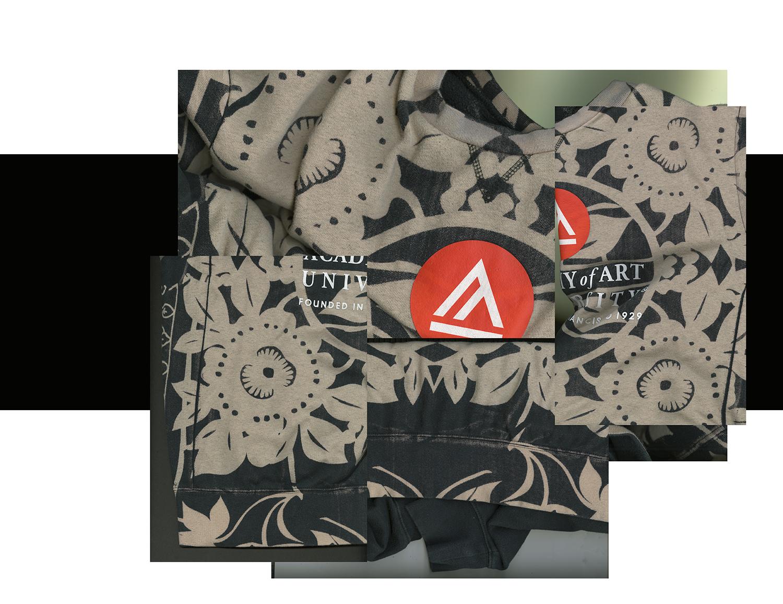 Textile Design by Narisi, BFA Fashion Design, printed on a University sweatshirt.