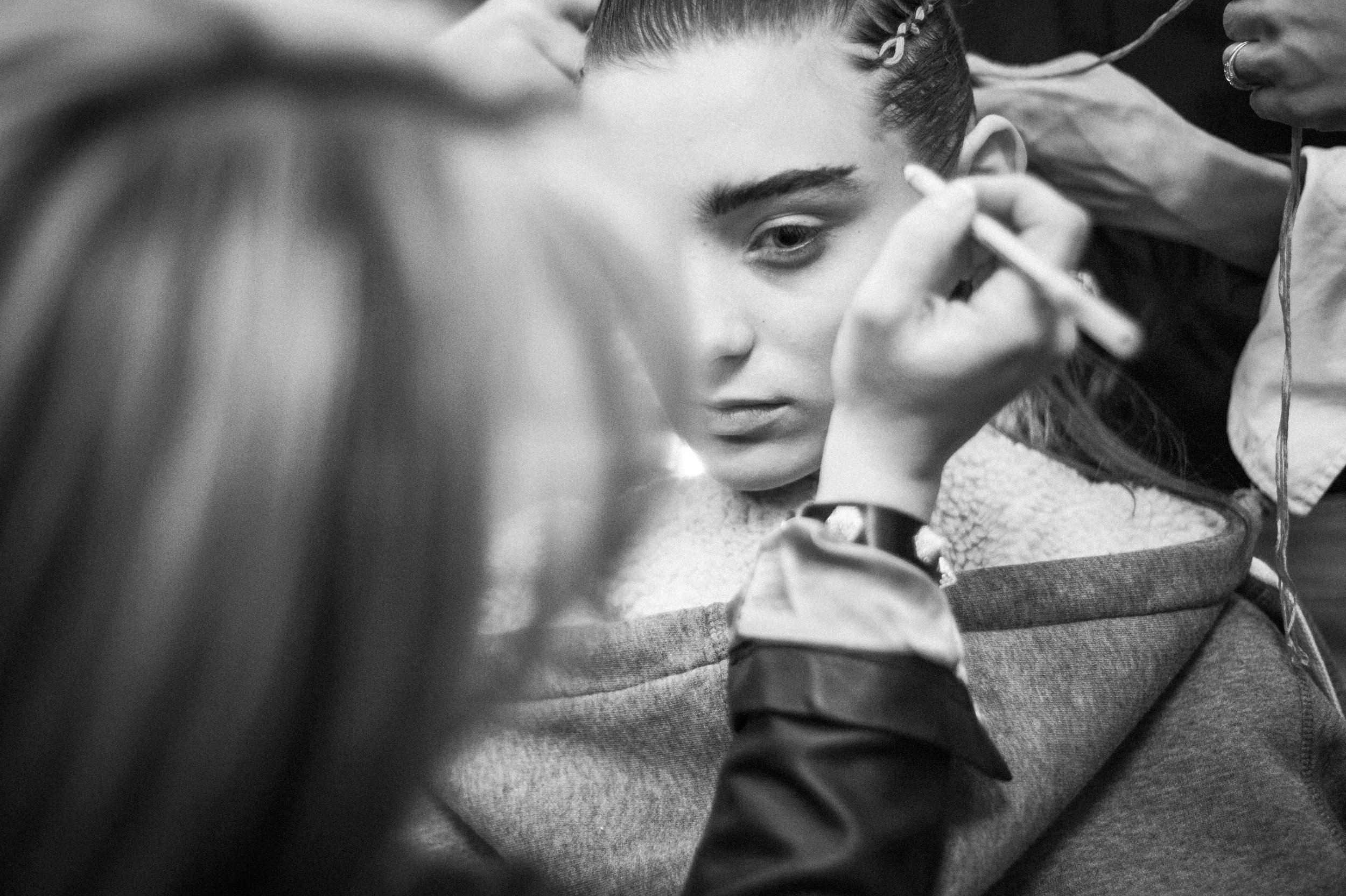 Carolina Thaler from Elite Models, backstage at the Fall 2014 show.