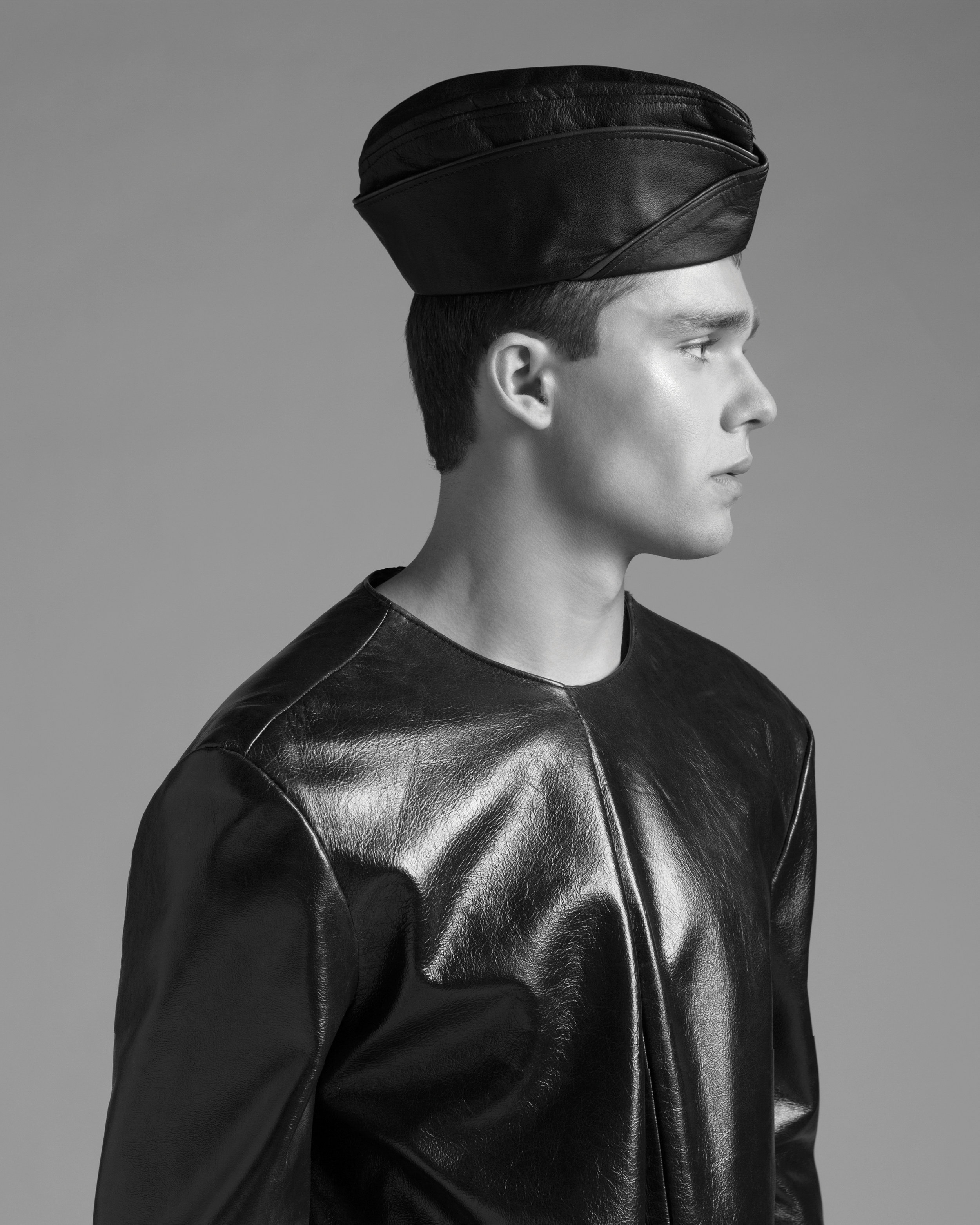 Leather Sweatshirt by Antonio Luna, BFA Fashion Design. Hat, stylist's own.