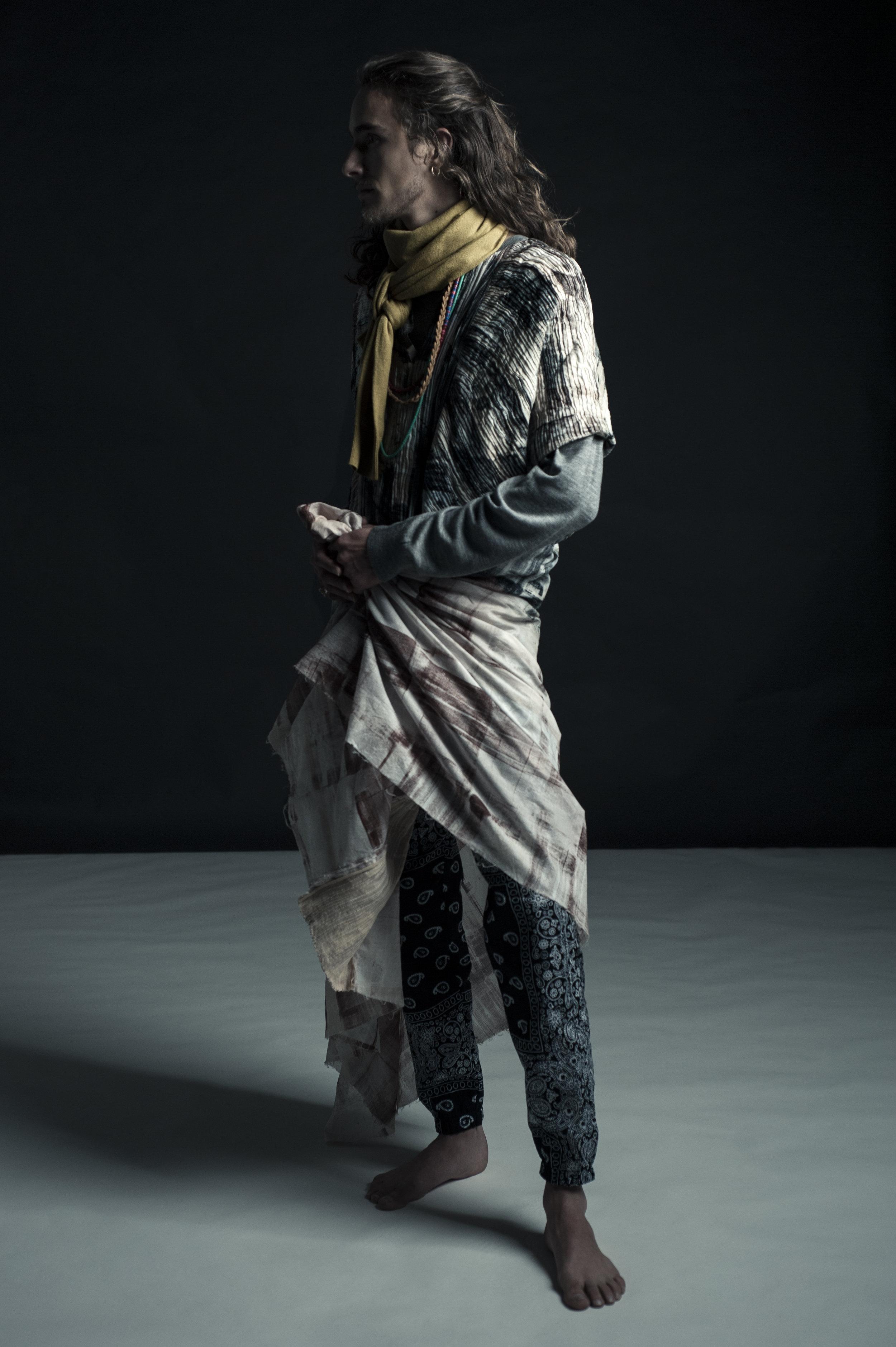 Tunic by Gwen Shihyao Lai, MFA Fashion Design. Bandana Pants by Rik Villa. Necklace, model's own. Sweater (worn as scarf) by UNIQLO.