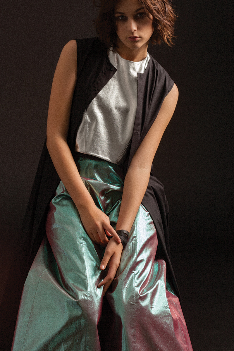 Top and Pants by Max Lu and JIngci Jessie Wang, MFA Fashion Design. Black Dress by Wenhan Yuan, MFA Fashion Design.