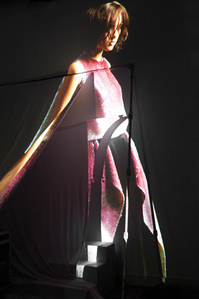 Sequin Dress by Max Lu and Jingci Jessie Wang, MFA Fashion Design. Black Dress by Wenhan Yuan, MFA Fashion Design.
