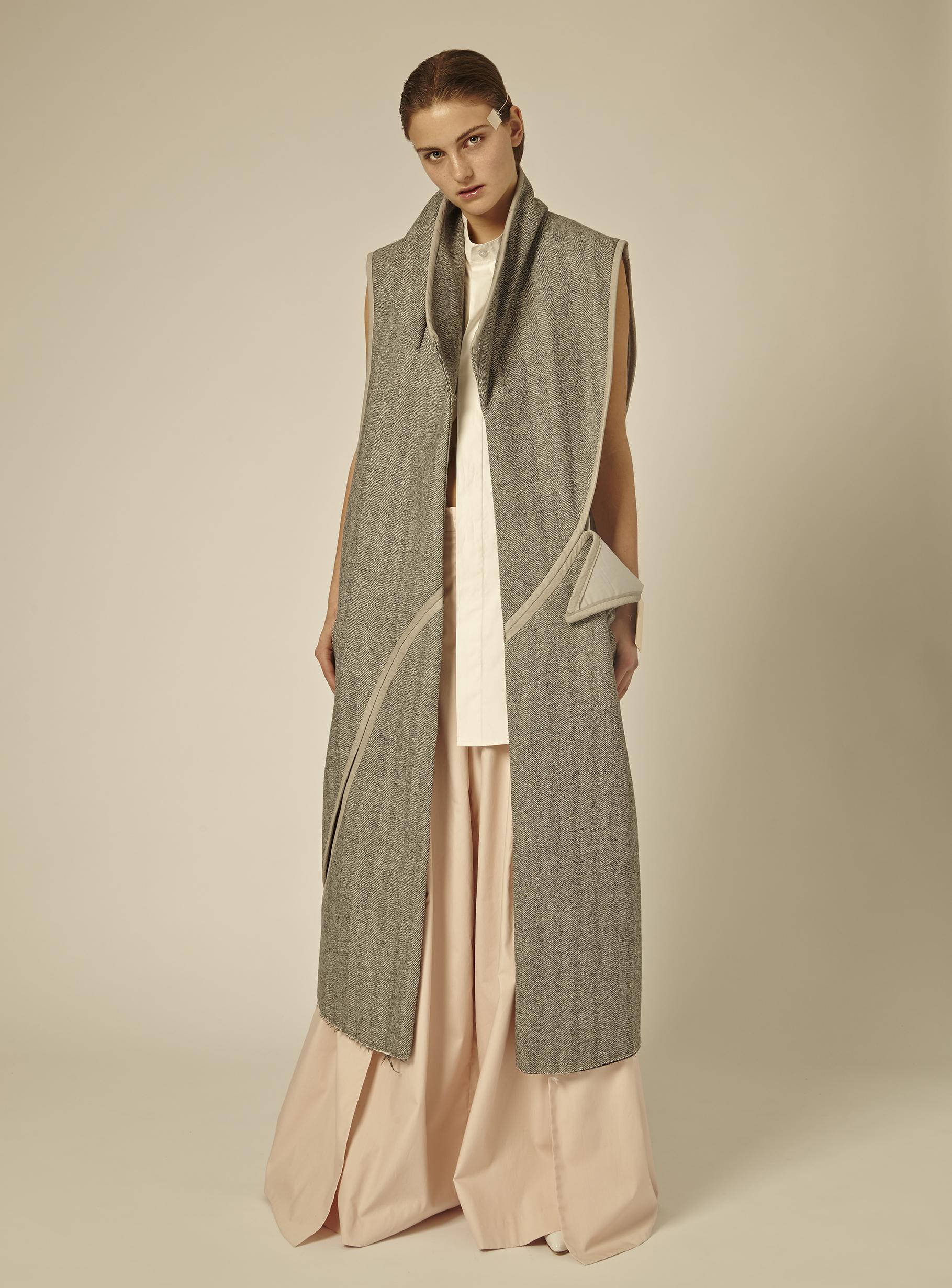 Vest by Lucky Yijia Jiang, MFA Menswear Design. Shirt and pants by Dominic Tan, BFA Menswear Design.