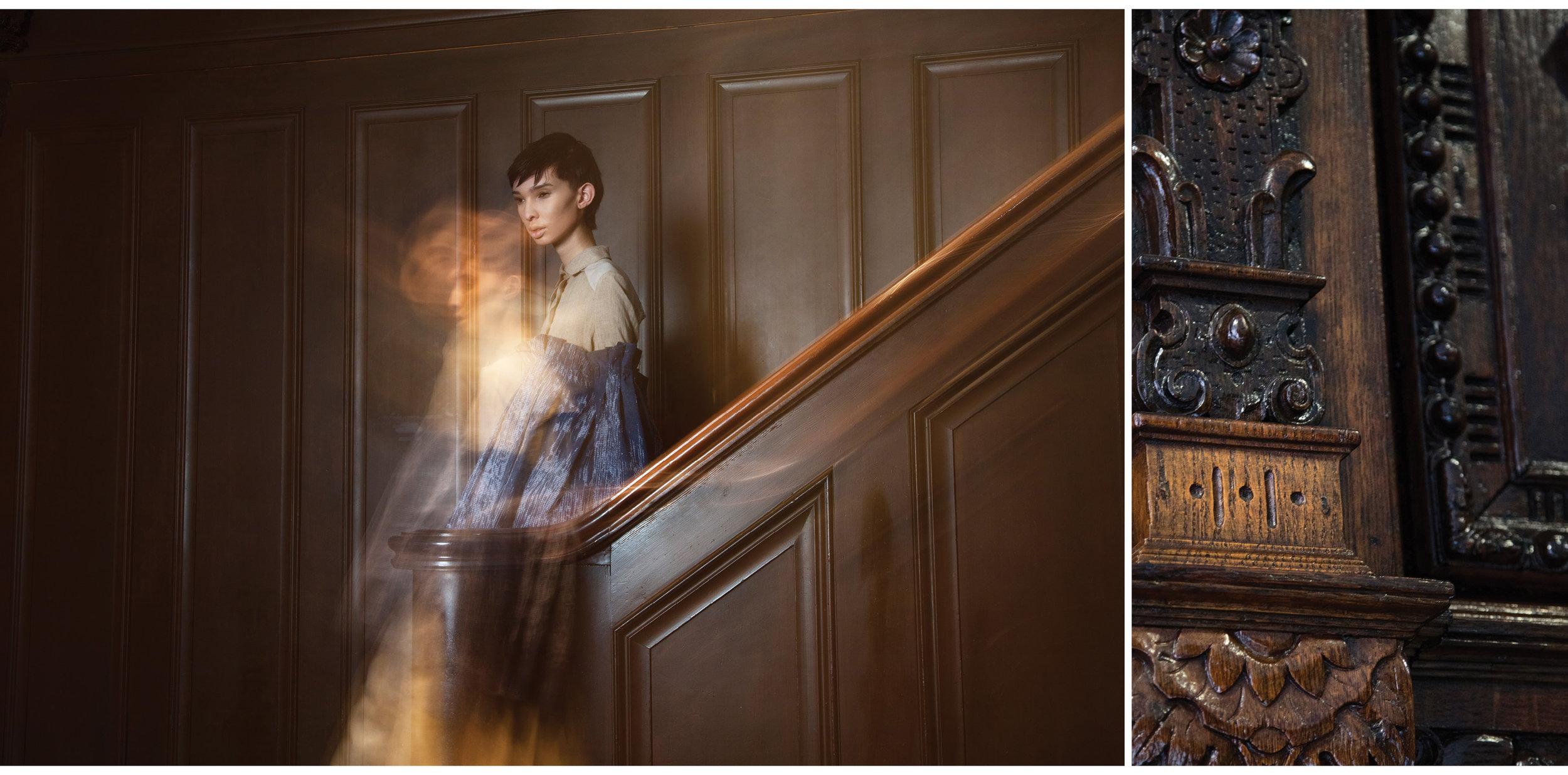 Beige dress by Lindsey Truman, MFA Fashion Design. Blue top by Dora Li, MFA Fashion Design.