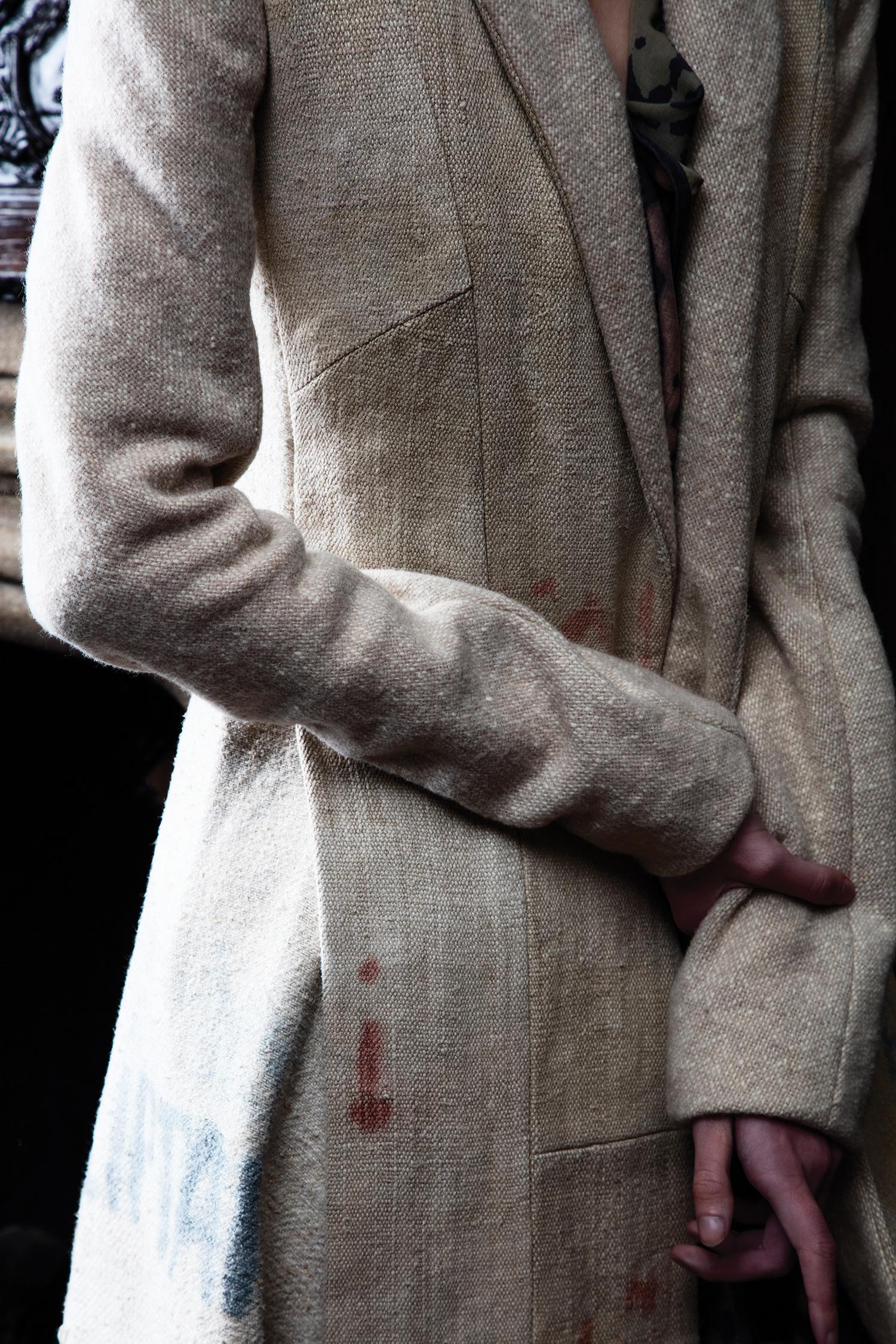 Coat by Lindsey Truman, MFA Fashion Design. Top by Justin Moreno, BFA Menswear Design.