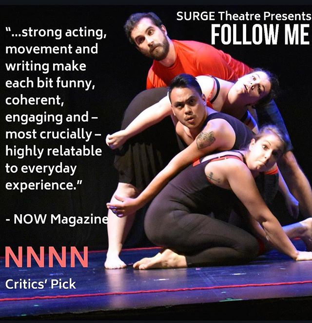 Don't miss FOLLOW ME, one of @nowtoronto Critics' Pick! Our next show is Tuesday July 10 @ 9:45PM @beyondwallstpm  Get your tickets through the link in the bio!  #theaTO #thesix #toronto #theatre #reviews #criticism #CDNcult #The6 #the6ix #performance #devisedtheatre #devised #physicaltheatre #fringeTO #PSpatio #stage