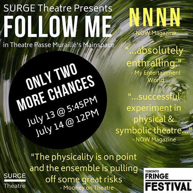 You only have two more chances to catch #FollowMe2018 @toronto_fringe in @beyondwallstpm  July 13 (TONIGHT) at 5:45PM July 14 (TOMORROW) at 12PM  Come out and see some indie theatre 💚  #FringeTO #PSpatio #StartedAtTheFringe #Theatre #TheaTO #cdncult #performance #physicaltheatre #devisedcreation #devisedtheatre #toronto #thesix #the6 #the6ix #summer #city #indietheatre