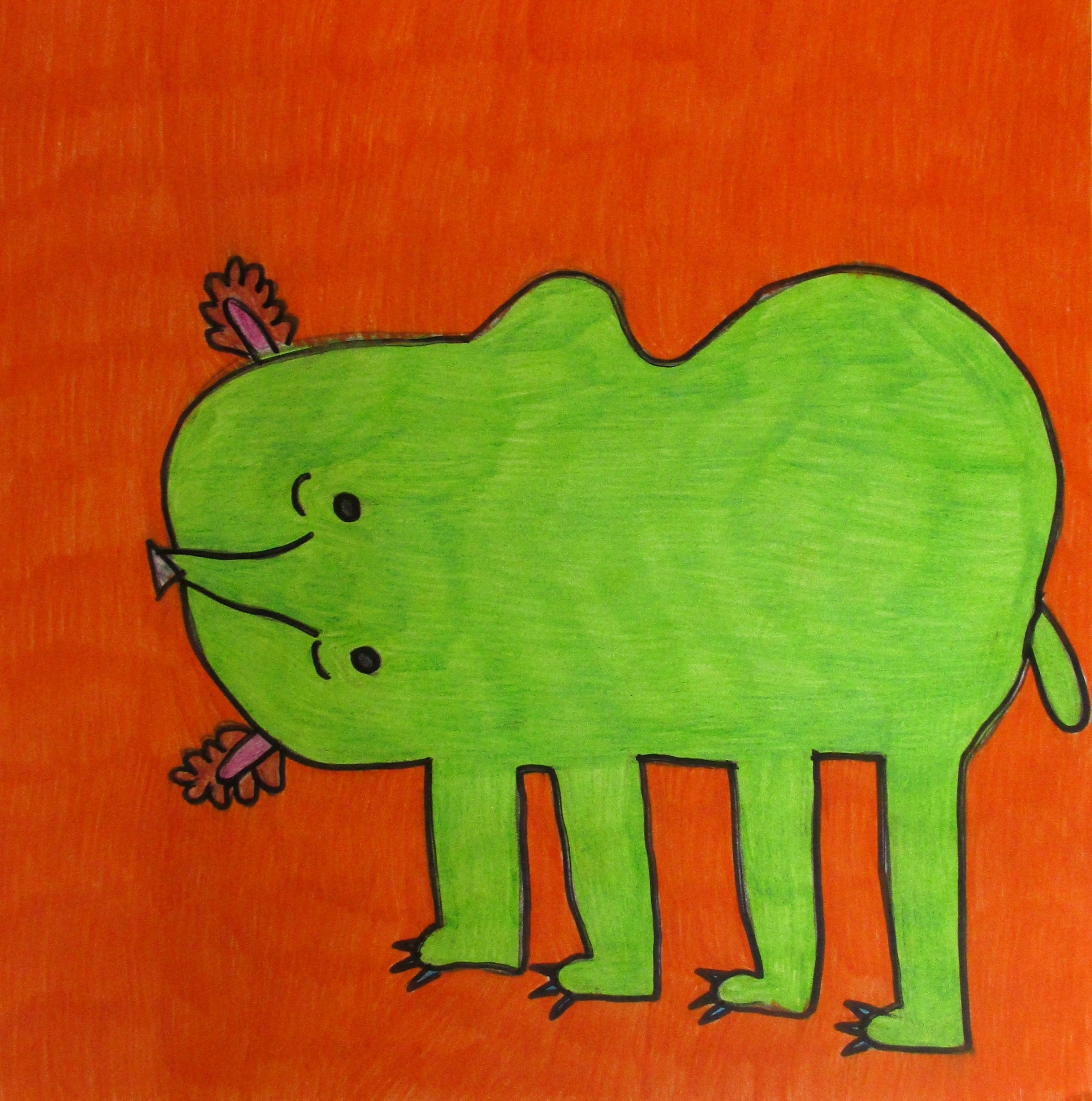 Donna Sarazin, The Huge Bear Plays, Colored Pencil and Sharpie