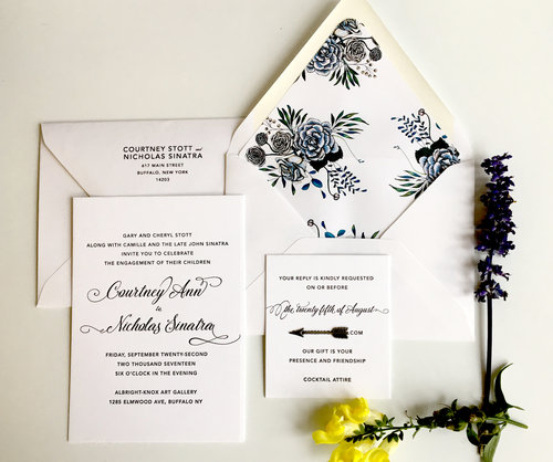 The Insider   A simple, classic invitation is spiced up with the surprise of a floral envelope liner. Shown here as an engagement invite, this style is extremely versatile as a shower, save the date, or wedding invitation, and looks equally as lovely in digital printing as letterpress or foil.