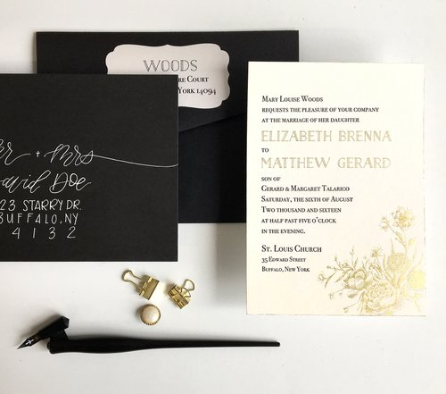 The Gold Peony   This gold foil and letterpress suite is a luxurious option for any upscale wedding. The peony and floral illustration in gold, rose gold, or silver foil is a lovely accent to your design. Suite shown here with white calligraphy and gold edge painting, but can be customized to fit your event! Also available in digital gold as part of our Standard Suite.
