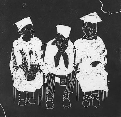 Linoleum cuts Graduating from Kindergarten to Grade 1, 1982