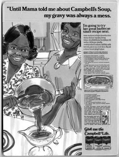 Campbell Soup advertisement designed by Caroline Jones.