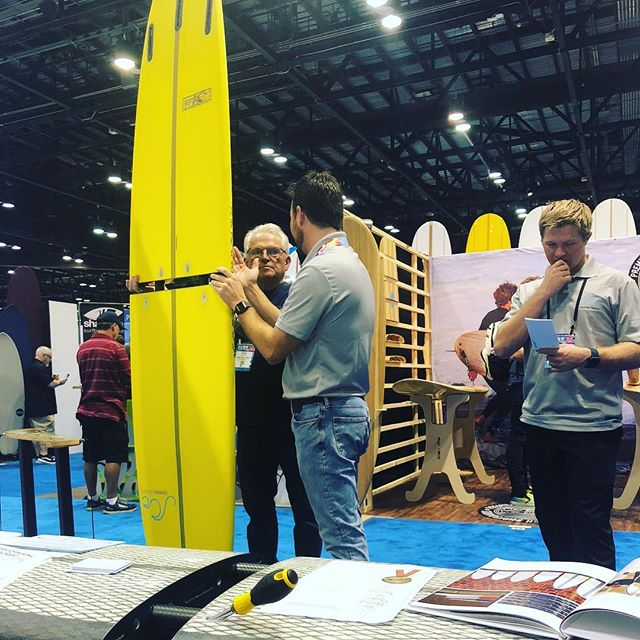 Honored to have the legendary Steve Walden @waldensurfboards admire the carbon compact engineering at this year's surf expo!