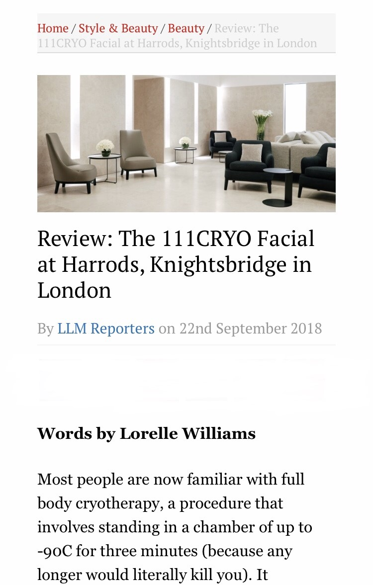 111cryo facial, Harrods, London