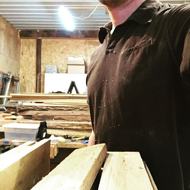 Standing at the tablesaw with some sawdust on my shirt. Smell of fresh cut wood in the air. Life is back to almost normal again.  #thankfulforthismess