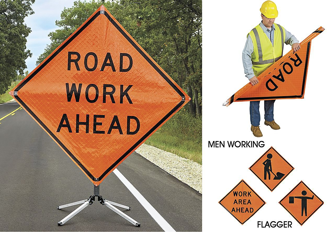 Rollup construction signs