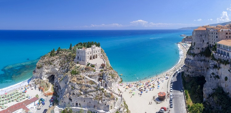 Coastline and castle in Tropea, Calabria.