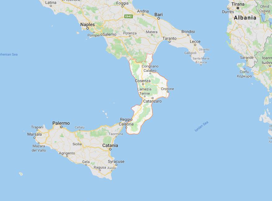 Calabria Map, Italy.